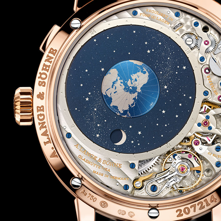 "The patented orbital moon-phase display can be admired through the sapphire-crystal caseback of the RICHARD LANGE PERPETUAL CALENDAR ""Terraluna""."
