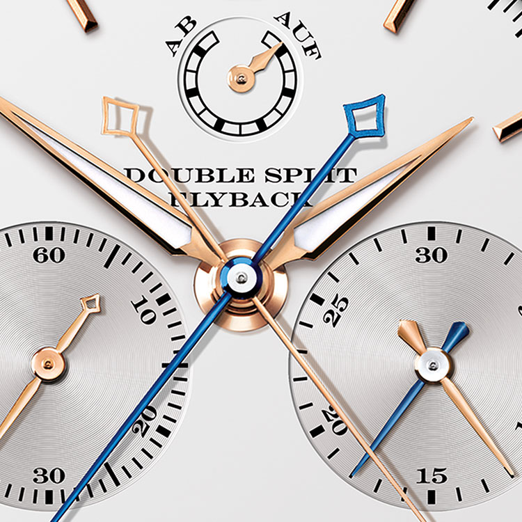 The DOUBLE SPLIT timepiece in pink gold features two chronograph hands which can run together and separately.