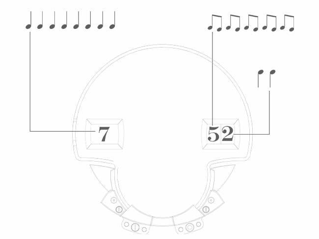 Sketch of the mechanism that indicates the time acoustically