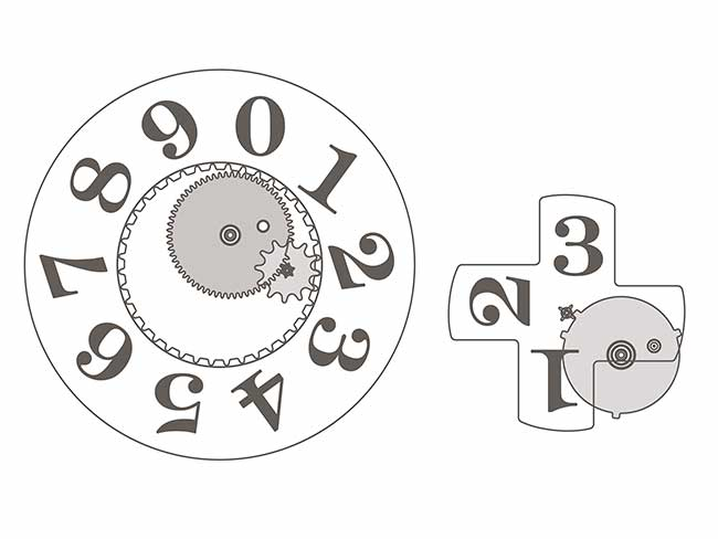 The outsize date features two separate display elements: a units disc and a tens cross