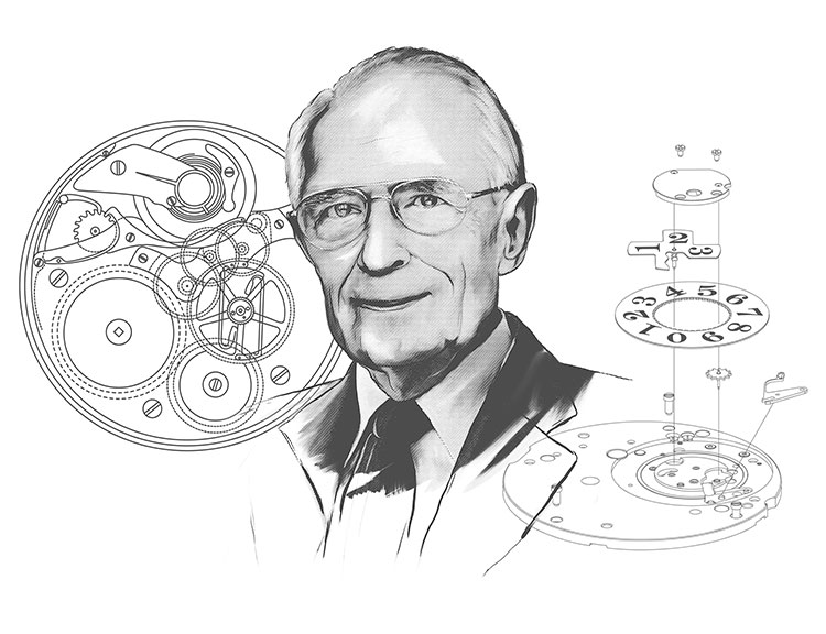 Drawing of a portrait of Walter Lange, background of technical drawings of movement mechanisms.
