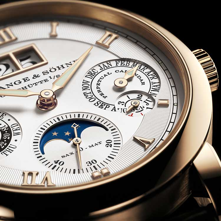 The LANGEMATIC PERPETUAL is the first mechanical wristwatch to feature a perpetual calendar with the characteristic Lange outsize date.