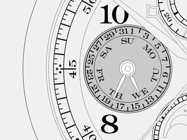 Technical drawing of a calendar display on the dial