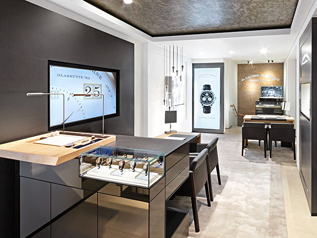 A. Lange & Söhne boutique with current showcase pieces.