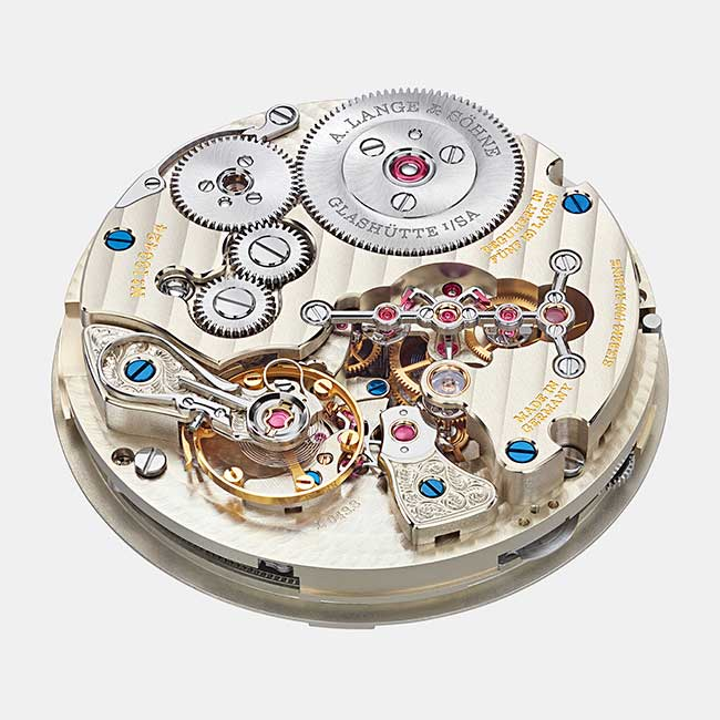 ZEITWERK DATE movement with ratchet wheel and remontoir bridge
