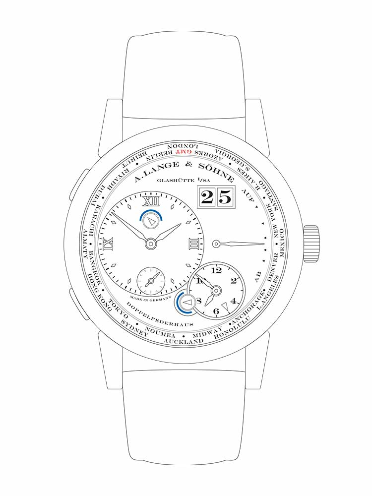 Features of the LANGE 1 TIME ZONE: home time with day-and-night indicator (hour, minute, small seconds with stop-seconds), second time zone (hour, minute) with day-and-night indcator and city ring, outsize date (home time), up/down power reserve indicator.