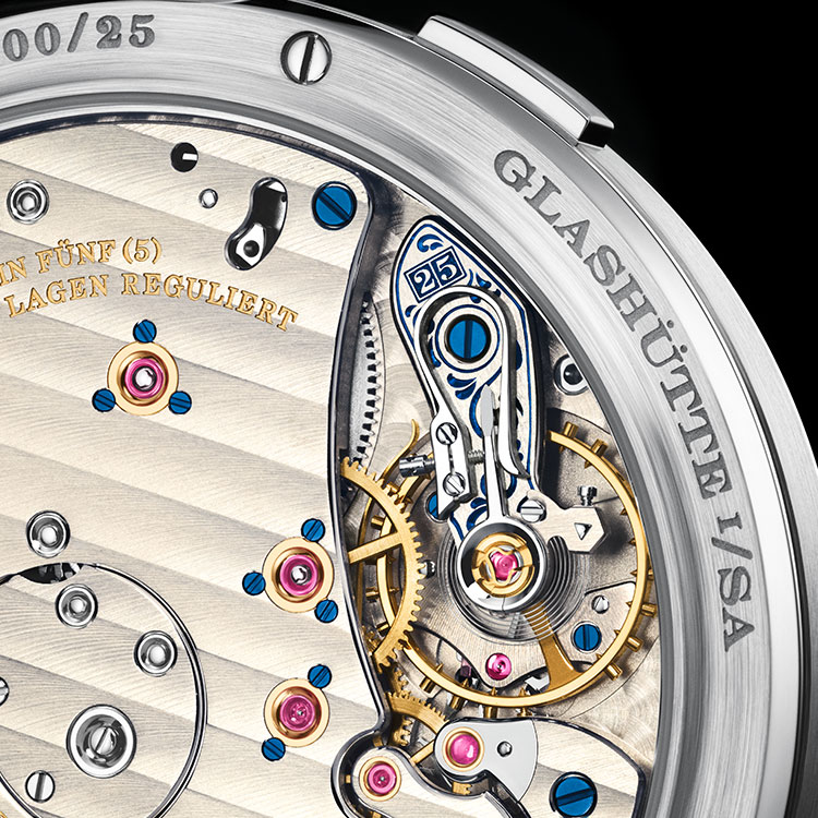 "Close-up of the hand-engraved balance cock of the  GRAND LANGE 1 ""25th Anniversary""."
