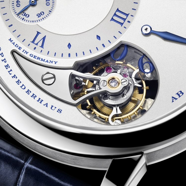 "Detailed dial of the LANGE 1 TOURBILLON ""25th Anniversary"" in white gold with blue-printed argenté-coloured dial and tourbillon cock."