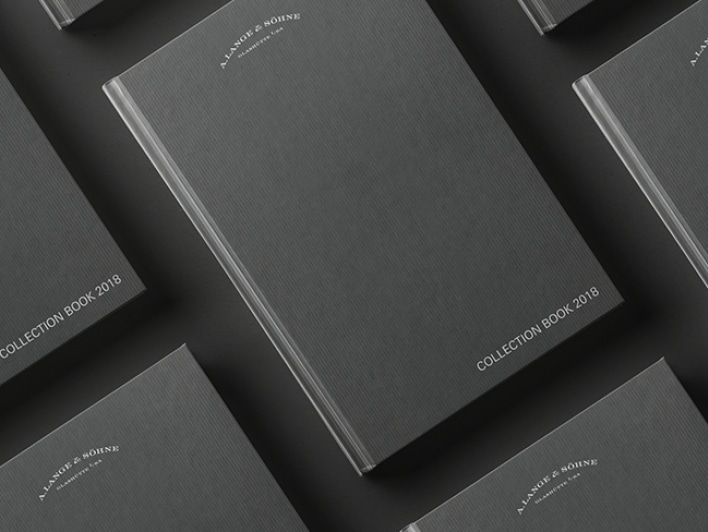 The grey A. Lange & Söhne collection book with the embossed logo