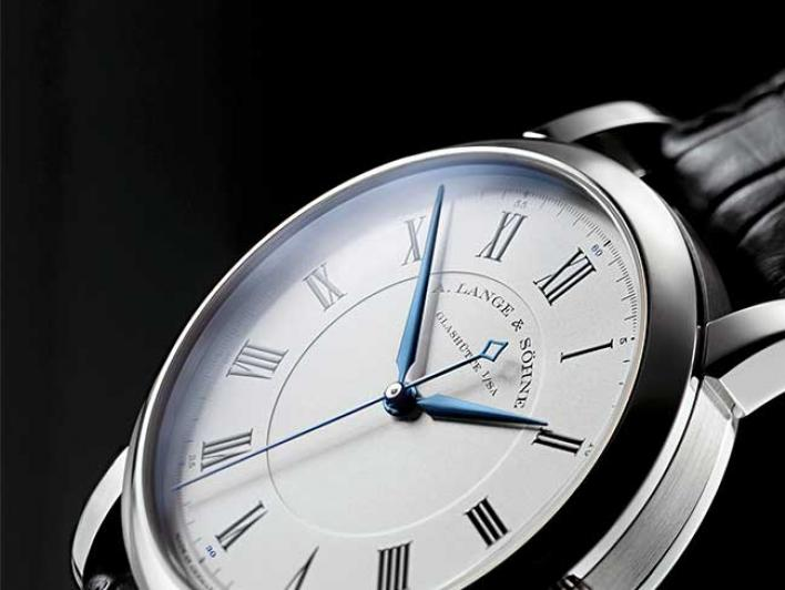 RICHARD LANGE in white gold with Roman numerals and blued hands