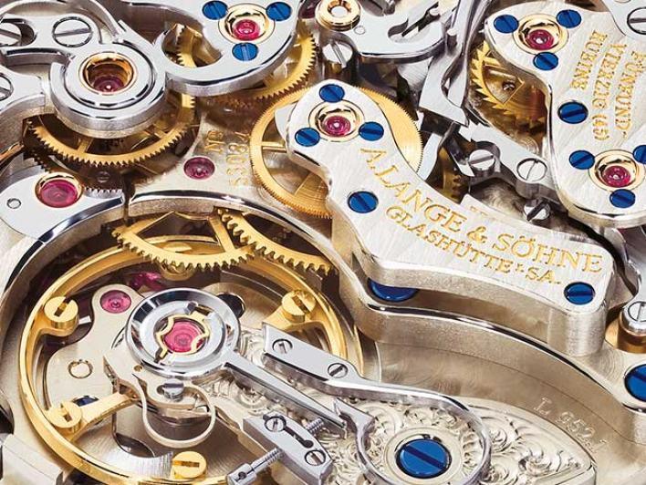 Close-up of the manufacture calibre of an A. Lange & Söhne timepiece