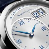 "LANGE 1 ""25th Anniversary"" in white gold with blued hands and blue numerals"